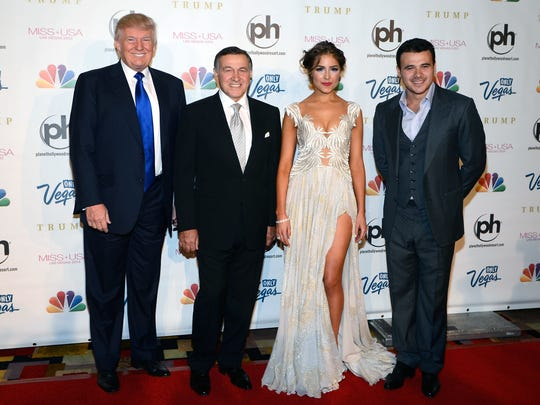 In this June 16, 2013 photo, (from left) Donald Trump, Aras Agalarov, Miss Universe 2012 Olivia Culpo and Russian singer Emin Agalarov arrive at the Miss USA 2013 pageant, Sunday, June 16, 2013, in Las Vegas.