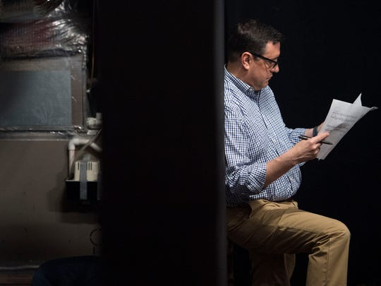 """News Sentinel President Frank Rosamond studies his part during a rehearsal for """"The Fantasticks"""" at Theatre Knoxville Downtown on Tuesday, June 26, 2018. Rosamond will be sharing the stage with son Frank Jr."""