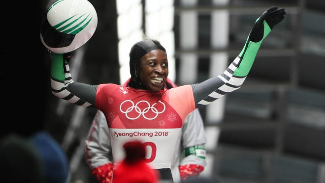 Simidele Adeagbo (NGR) competes in women's skeleton heat three.