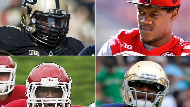 These players are scheduled to participate in the NFL Scouting Combine in Indianapolis From Feb. 17-23: Top left, Ryan Russell, Purdue defensive lineman; top right, Randy Gregory, former Hamilton Southeastern defensive lineman; bottom left, Tevin Coleman, Indiana running back; bottom right, Davaris Daniels, Notre Dame receiver.