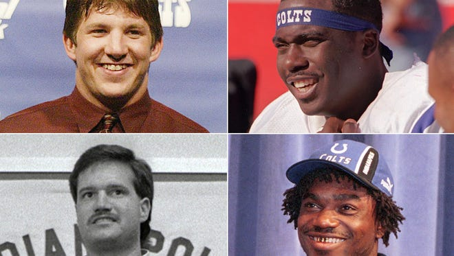 Colts first-round  draft picks (clockwise from top left): Dallas Clark, 2003; Marshall Faulk, 1994; Edgerrin James, 1999; Jeff George, 1990.