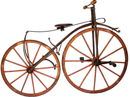 Velocipede, maker unknown, 1871-1872. This is from the collection of Burlington's Glenn Eames.