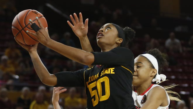 ASU's Armani Hawkins (50) makes a layup against Illinois State in the second half at Wells Fargo Arena on November 11, 2016 in Tempe, Ariz.