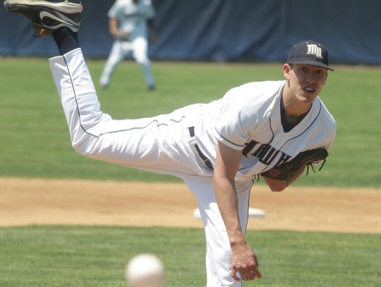 Pat Light, shown pitching for Monmouth University in