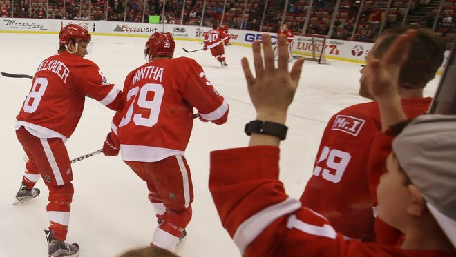 The Detroit Red Wings get ready for a game against the St. Louis Blues on Wednesday, Feb. 15, 2017, at Joe Louis Arena.