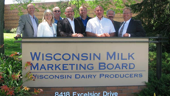 Leading the Wisconsin Milk Marketing Board through FY18 are: (L-R) Chad Vincent, CEO; Kay Zwald, Chair, Policy/Bylaw; Ken Heiman, Chair, Channel Management Committee; Dean Strauss, Vice Chair; Ben Peterson, Chair, Communications Committee; Jay Stauffacher, Treasurer; Steven Sternweis, Secretary; and Jeff Strassburg, Board Chair.