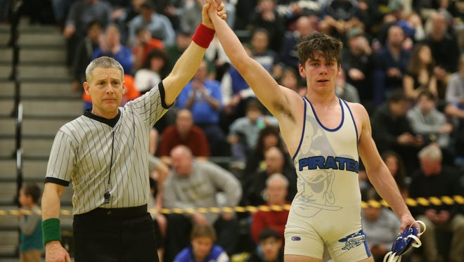 Pearl River's Emmet McCann defeats Putnam Valley/Haldane's Mike Nolan in the 145-pound match at the Section 1, Division 2 Wrestling finals at Hasting High School in Hastings on Hudson on Saturday, February 10, 2018.