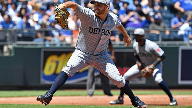 Tigers pitcher Matthew Boyd (48) delivers a pitch during the first inning against the Kansas City Royals at Kauffman Stadium on Sunday, May 6, 2018.