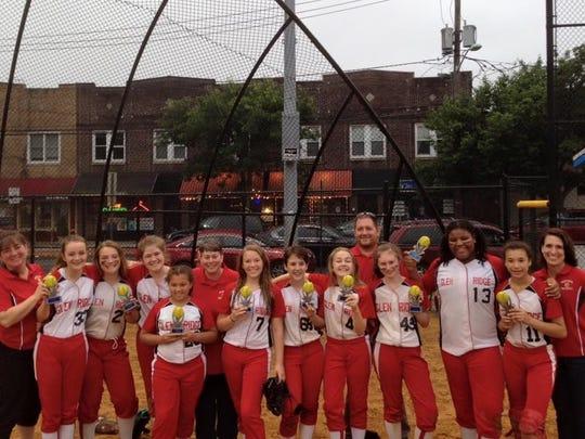 The Glen Ridge recreational softball team poses with
