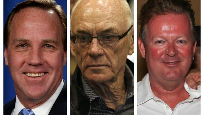 Palm Springs corruption suspects, from left: Former Mayor Steve Pougnet, developer John Wessman, developer Richard Meaney.