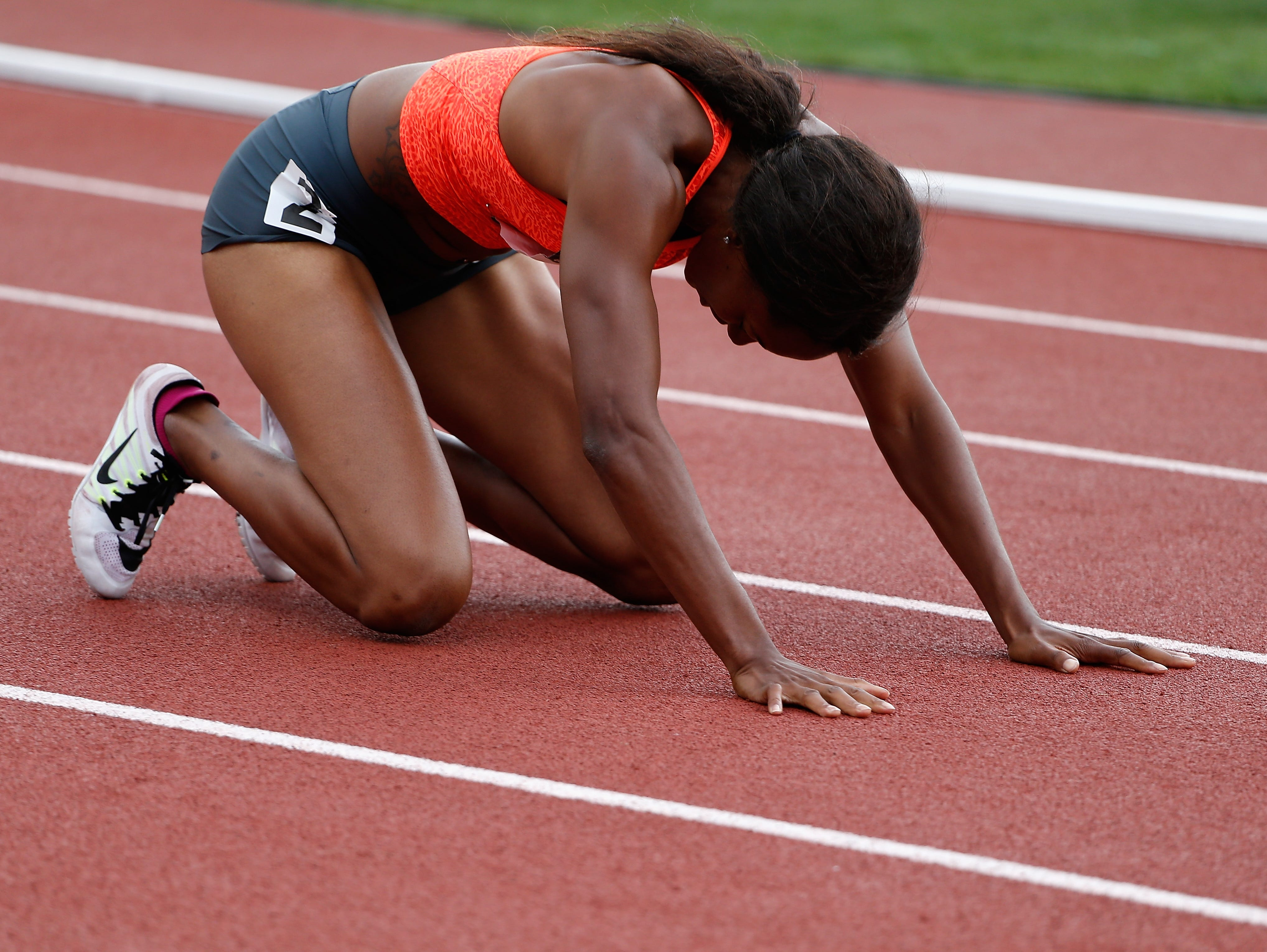 Candyce McGrone reacts after finishing in second place in the Women's 200 Meter Dash final during day four of the 2015 USA Outdoor Track & Field Championships at Hayward Field on June 28, 2015 in Eugene, Ore/