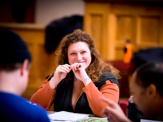 """Allison Glenzer (Gonzalo) in rehearsal for """"The Tempest."""""""