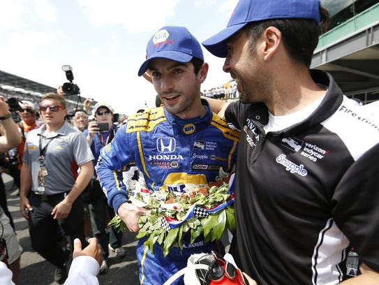 Alexander Rossi celebrates following his Indy 500 victory