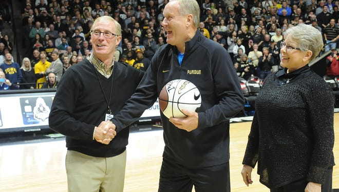 Purdue honored Rick Mount at a game in January. Mount and his wife, Donna, were greeted by Athletic Director Morgan Burke and received a standing ovation at Mackie Arena.