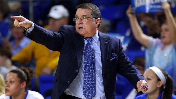 MTSU women's coach Rick Insell coaches against Arkansas