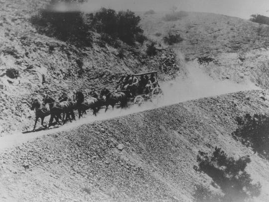 A stagecoach makes its way to Castle Hot Springs from Phoenix at the turn of the 20th century. The journey commonly took half day.