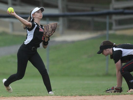 NFC right fielder Hayley Turner throws the ball in