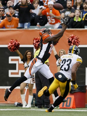 Deep passes, like this one to Cincinnati Bengals wide receiver A.J. Green, will be a factor in the game on Monday night in Denver.