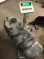 A false compartment was found in this fuel tank.