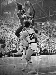 Fort Wayne South's Willie Long (55) playing Lafayette Jeff in the 1967 Indiana state basketball semifinals.
