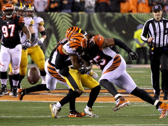 Bengals linebacker Vontaze Burfict hits Steelers wide receiver Antonio Brown during the last 22 seconds of the game.