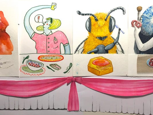 Art by Joe Levickas for his dinner party-themed installation at POP-X - phot