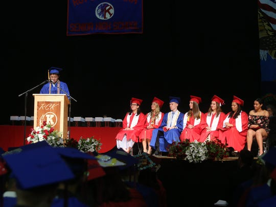 Salutatorian, Nicholas Yao, delivers his address during
