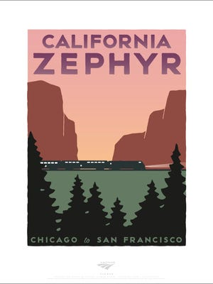 The poster advertising Amtrak's California Zephyr that takes passengers from California to Colorado in 30 hours,
