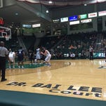 Binghamton forward Bobby Ahearn gets ready to shoot a free throw during Tuesday's game against Florida International in the Events Center.