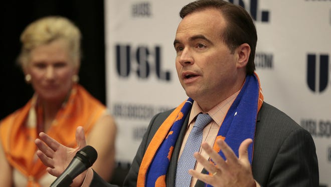 Cincinnati mayor John Cranley speaks at a press conference to introduce the new FC Cincinnati professional soccer team at the University of Cincinnati in Cincinnati.
