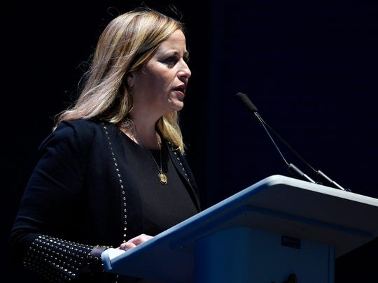Mayor Megan Barry speaks to the crowd at Nashville's