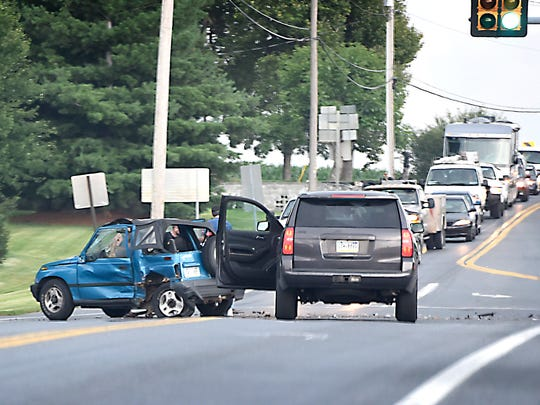 A blue Geo Tracker driven 65 year-old Richard Pankake of Lebanon is disabled at the intersection of Route 322 and Butler Road after it collided with a Chevy Cruze (obscured at right) driven by 72-year-old Walter Hynicka of Lititz at 4 p.m. Thursday. Both men were taken by ambulance to Wellspan Good Samaritan Hospital.