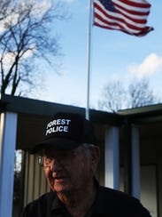Bob Smith, 85, leaves a municipal building in Forest