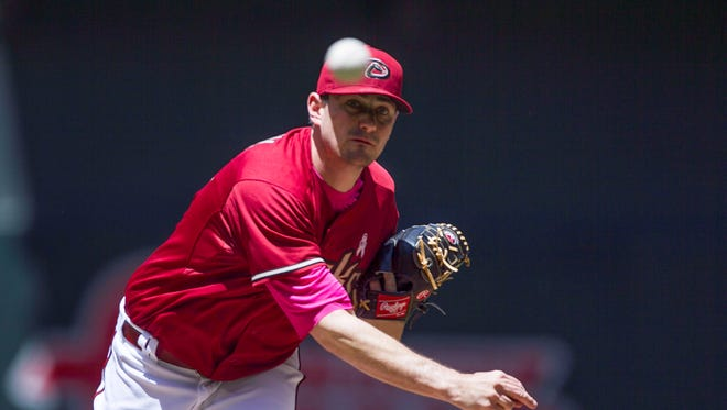 Daniel Hudson pitches against the Padres in the third inning at Chase Field in Phoenix, AZ on May 10, 2015.