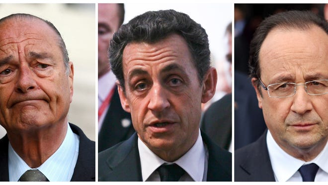 From left, former French presidents Jacques Chirac, in 2006; Nicolas Sarkozy, in  March 2012; and current French President Francois Hollande in May 2013.