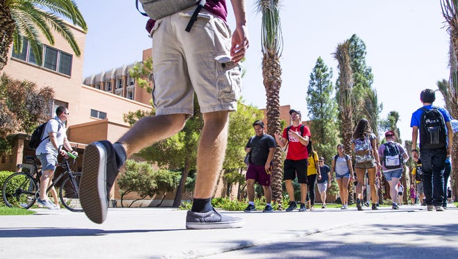 Students on the Arizona State University campus in Tempe.