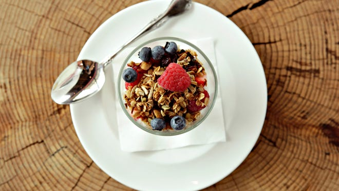 Granola, yogurt and berries as made by chef Aaron Chamberlin. As seen in Phoenix, on July 26, 2013.