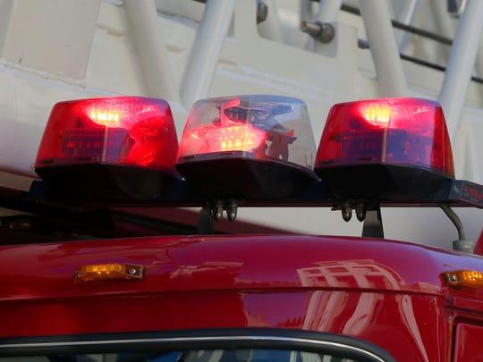 Warning lights on a Milwaukee fire truck.