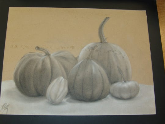 Artwork by Hallie Reed is on display in January at the West Lafayette Branch Library.