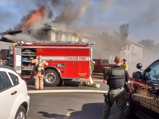 A fire that started in an apartment complex at 4049 Satter Drive NE in Salem, Wednesday, destroyed one unit of the complex and displaced 25 people