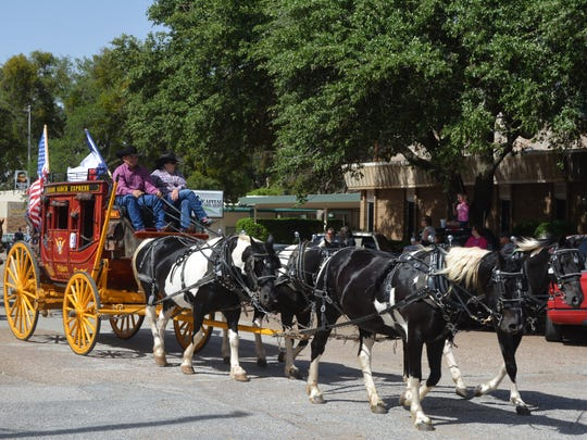 VERNON - The Bachand Ranch Express entered a stage coach pulled by an impressive team of horses in the annual Santa Rosa Roundup parade Wednesday afternoon in downtown Vernon. The entry won first place in the Novelty Division of the parade.
