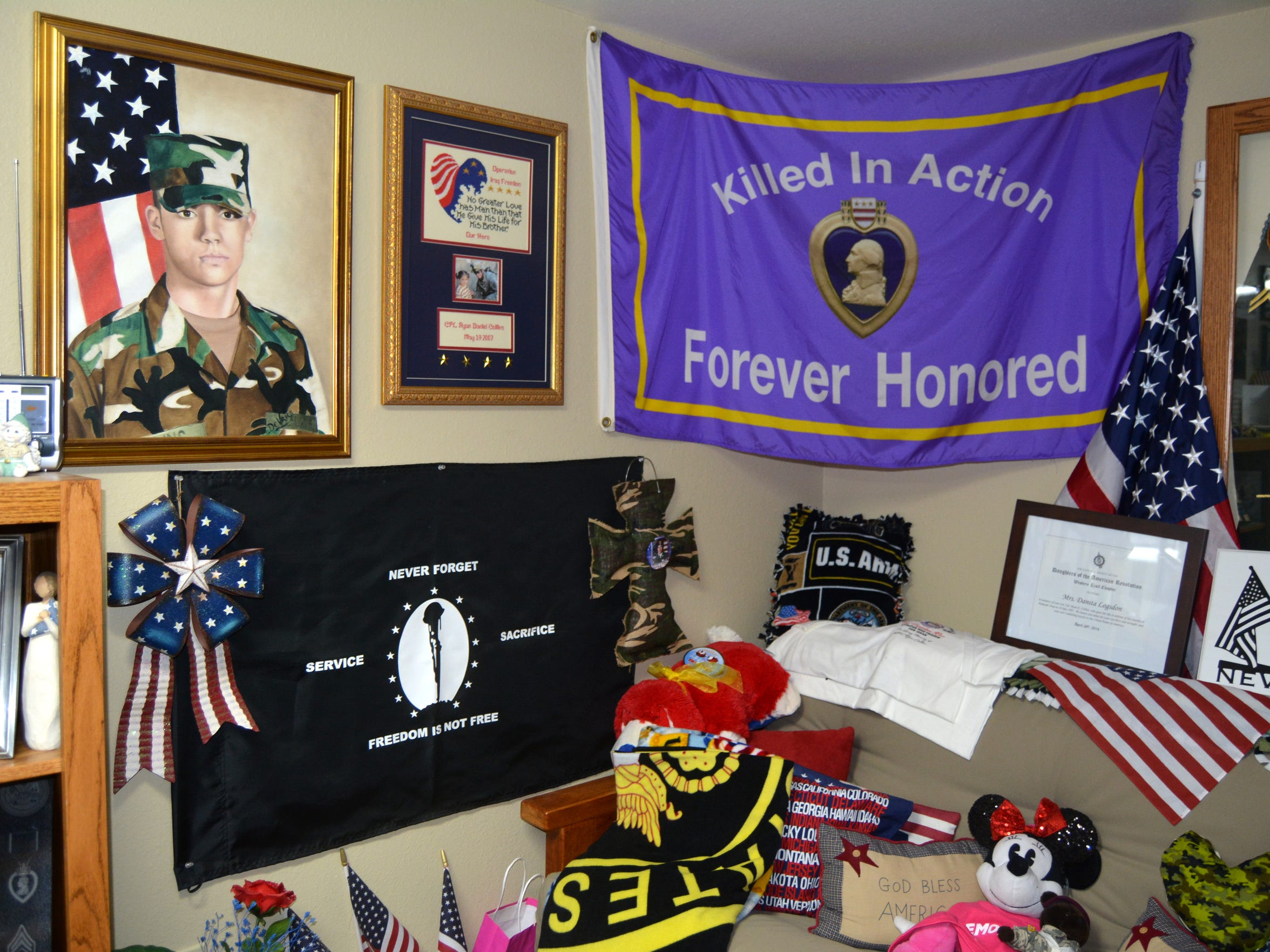 VERNON -- Flags, paintings, blankets, pillows, stuffed animals and many more items have been given to the Logsdon family in memory of Ryan Collins, a corporal in the Army who was killed in action in May 2007 in Iraq. He will never be forgotten, his mother, Danita, said.