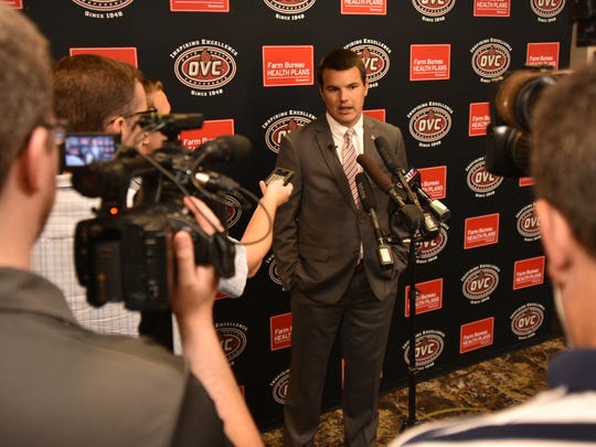 Austin Peay football coach Will Healy speaks with members of the media during OVC Media Day on July, 24.