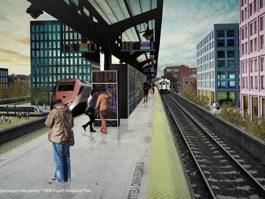A rendering of a train station in the new, larger,