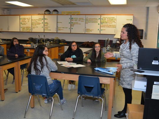 Santa Teresa High science teacher Monica Nuñez, right,