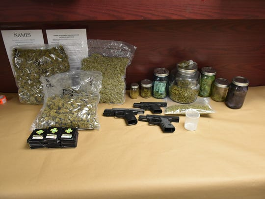 Police found four pounds of marijuana, an ounce of