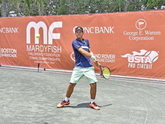 Nick Hardt of the Dominican Republic plays at the Mardy Fish Tennis Championships on April 25, 2018.