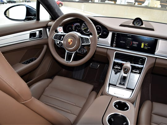 Porsche Panamera cockpit from center.