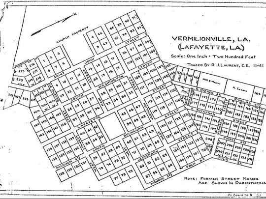 A map of Vermilionville.