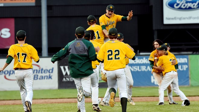 Members of the Burr and Burton Academy Bulldogs celebrate their win over Essex at the 2017 Division I baseball state championship game at Centennial Field on Saturday, June 10, 2017.